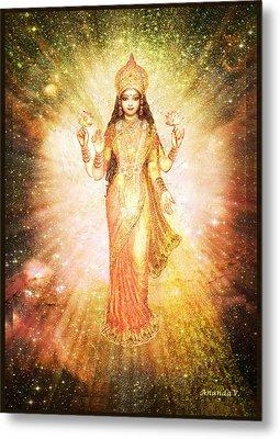 Lakshmi In A Galaxy, Radiating Pink Light Metal Print by Ananda Vdovic