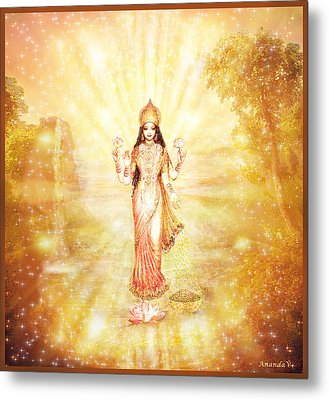 Lakshmi With The Waterfall - Light Metal Print by Ananda Vdovic