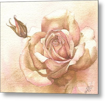 Lalique Rose Metal Print by Sandra Phryce-Jones