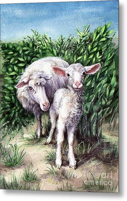 Lamb With His Mother Metal Print by Larissa Prince