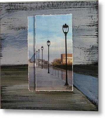 Lamp Post Row Layered Metal Print by Anita Burgermeister