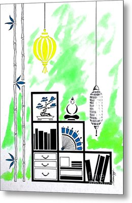 Lamps, Books, Bamboo -- Lime Green Metal Print by Jayne Somogy
