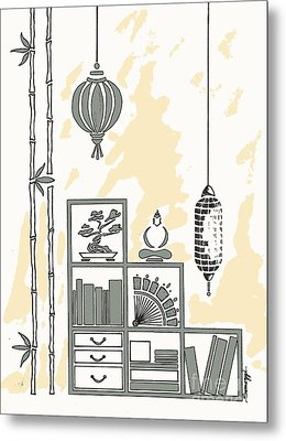 Lamps, Books, Bamboo -- Neutrals Metal Print by Jayne Somogy
