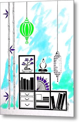 Lamps, Books, Bamboo -- Turquoise Metal Print by Jayne Somogy