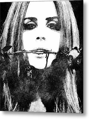 Lana Del Rey Bw Portrait Metal Print by Mihaela Pater
