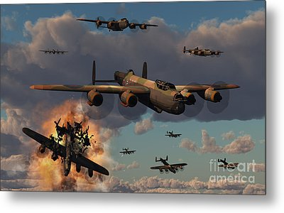 Lancaster Heavy Bombers Of The Royal Metal Print by Mark Stevenson