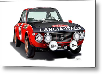 Lancia Fulvia Hf Illustration Metal Print