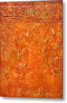 Land In Orange Metal Print by Habib Ayat
