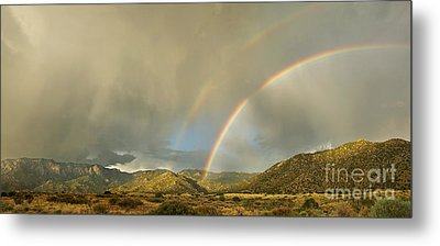 Land Of Enchantment - Rainbow Over Sandia Mountains Metal Print by Matt Tilghman