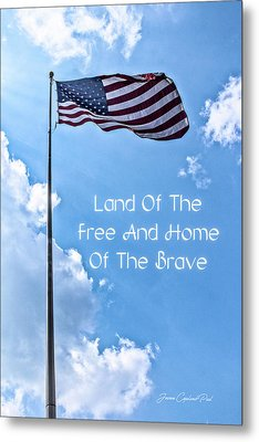 Land Of The Free Metal Print by Joann Copeland-Paul