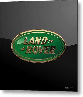 Land Rover - 3d Badge On Black Metal Print by Serge Averbukh