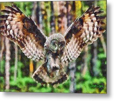 Landing Owl - Da Metal Print by Leonardo Digenio