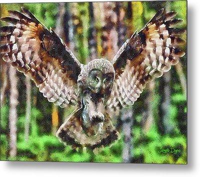 Landing Owl Metal Print
