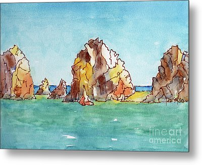 Metal Print featuring the painting Lands End Cabo San Lucas Mexico by Pat Katz
