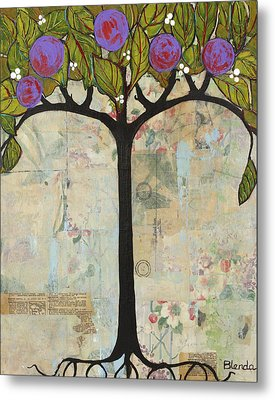 Landscape Art Tree Painting Past Visions Metal Print by Blenda Studio