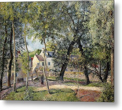 Landscape At Osny Near The Drinking Trough Metal Print by Camille Pissarro