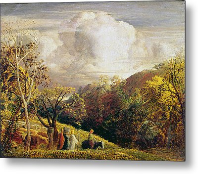 Landscape Figures And Cattle Metal Print by Samuel Palmer