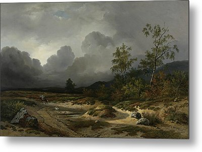 Landscape In An Approaching Storm Metal Print by Willem Roelofs