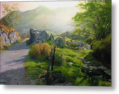 Metal Print featuring the painting Landscape In Wales by Harry Robertson