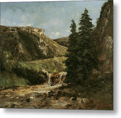 Landscape Near Ornans Metal Print by Gustave Courbet