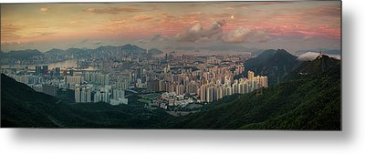 Landscape Of Hong Kong And Kowloon In Sunrise Morning With Mist  Metal Print by Anek Suwannaphoom