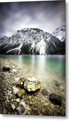 Landscape Of Plansee Lake And Alps Mountains During Winter, Snowy View, Tyrol, Austria. Metal Print