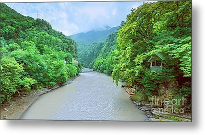 Landscape View From A Bridge Metal Print