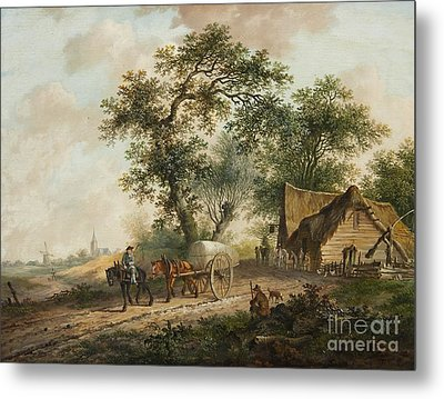 Landscape With A Horse And Cart Metal Print by MotionAge Designs