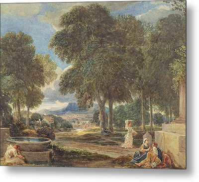 Landscape With A Man Washing His Feet At A Fountain Metal Print by David Cox