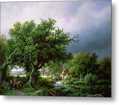 Landscape With A Mill Metal Print by Barend Cornelis Koekkoek