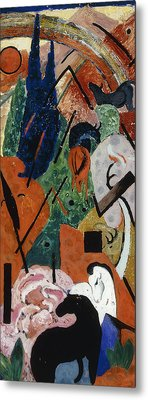 Landscape With Animals And Rainbow Metal Print by Franz Marc