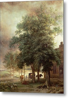 Landscape With Carriage Or House Beyond The Trees Metal Print by Paulus Potter