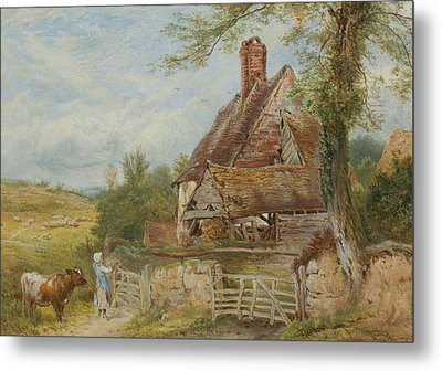 Landscape With Cottage, Girl And Cow Metal Print