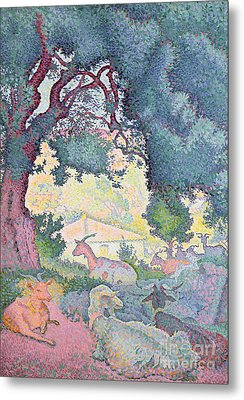 Landscape With Goats Metal Print