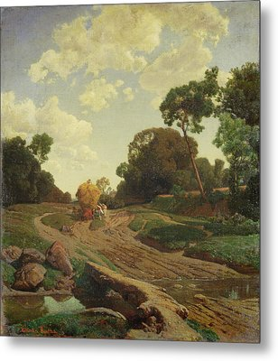 Landscape With Haywagon Metal Print by Valentin Ruths