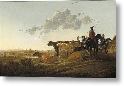 Landscape With Herdsmen Metal Print by Aelbert Cuyp