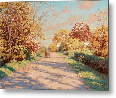 Landscape With Horse And Cart Metal Print by MotionAge Designs