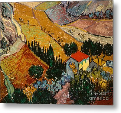 Landscape With House And Ploughman Metal Print by Vincent Van Gogh