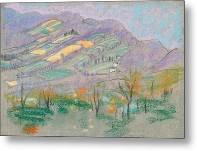 Landscape With Purple Mountains  Metal Print by Arthur Bowen Davies