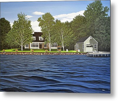Metal Print featuring the painting Langer Summer Home Lake Simcoe by Kenneth M Kirsch