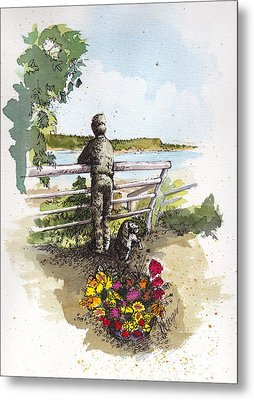 Langley Boy And Dog Metal Print by Judi Nyerges