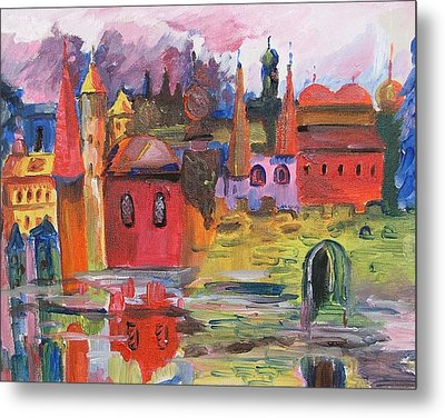 Lanscape With Red Houses Metal Print by Rita Fetisov