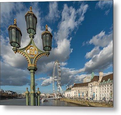 Lanterns On Westminster Metal Print by Adrian Evans