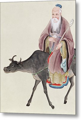 Lao Tzu On His Buffalo Metal Print by Chinese School