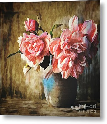 Large Pink Flowers In A Vase Metal Print
