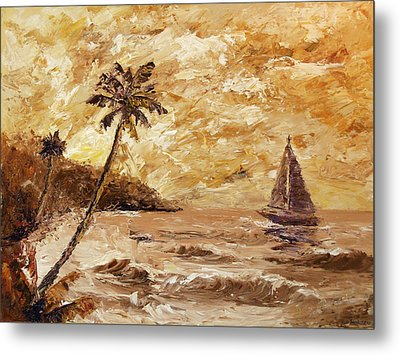 Large Sailboat On The Hawaiian Coast Oil Painting  Metal Print by Mark Webster