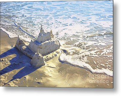 Large Sandcastle On The Beach Metal Print by Skip Nall