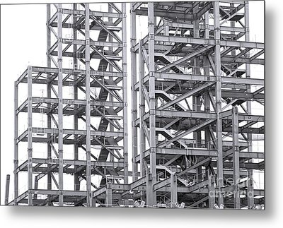 Metal Print featuring the photograph Large Scale Construction Project With Steel Girders by Yali Shi