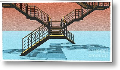 Large Stair 38 On Cyan And Strange Red Background Abstract Arhitecture Metal Print by Pablo Franchi