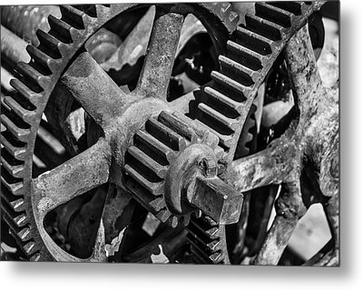 Large Trainyard Gears Metal Print